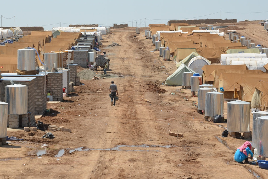 Domiz Camp for Syrian refugees in Dohuk Governorate, Iraqi Kurdistan. The camp is home to 2,500 Syrian Kurdish refugees who fled the conflict in Syria
