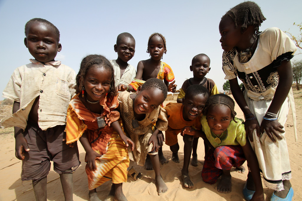 Six year old Sadya (second from left) plays with her siblings and neighbours. She was born in Djabal refugee camp in Eastern Chad and has never set foot in her native Sudan
