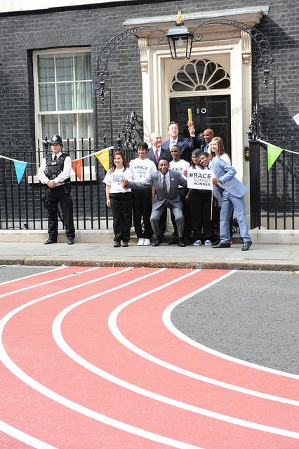 Olympic double gold medallist Mo Farah, Olympic great Haile Gebrselassie and football legend Pele join the PM and Vice President of Brazil at Downing Street in a push to tackle global hunger ahead of the next Olympics in 2016.