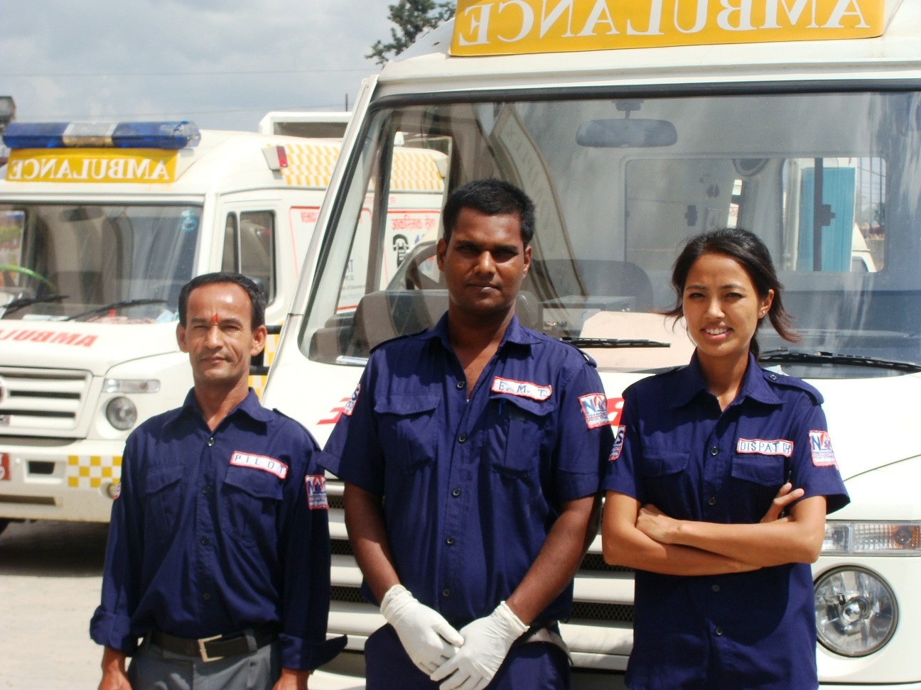 Umesh Prasad Sah, 28 (centre), and his team, is one of only 20 trained paramedics in the country
