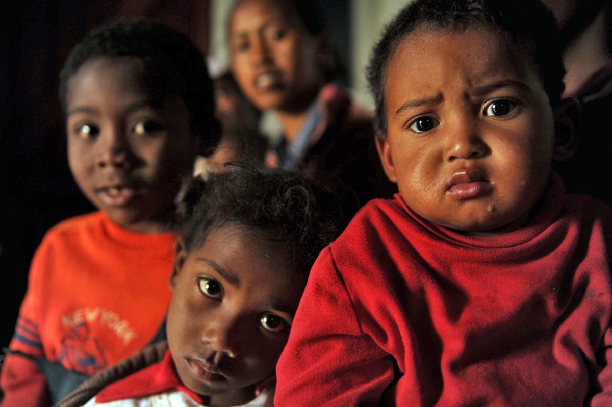 A few of the 354 children at the National Community Nutrition Programme centre in Ambohimanarina, a poor neighbourhood in the Madagascan capital Antananarivo