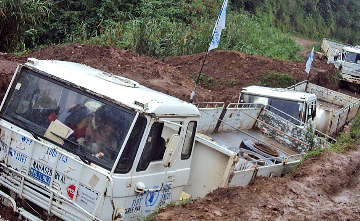 A convoy of WFP trucks in Masisi, DRC