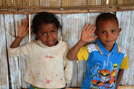 Children at the playgroup in Fatulmau. Thousands of children have no birth certificates in Timor-Leste