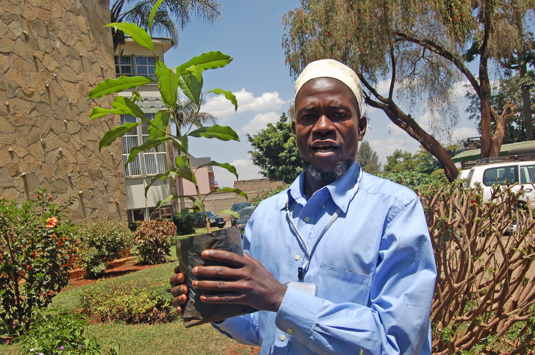 Iman Iban Kasozi, the vice chairperson of Uganda Muslim Youth Assembly displays one of the trees the faith leaders will plant