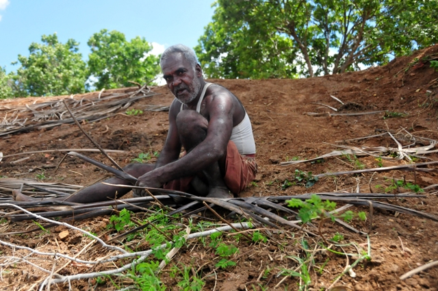 A newly returned war displaced prepares coconut leaves to use on the roof of his house in Mamaduwa village, Vavuniya District of Sri Lanka