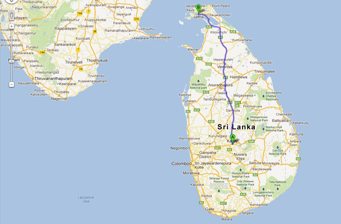 Map showing highway A9 that starts from Kandy and ends in Jaffna (CLICK TO VIEW LARGE)