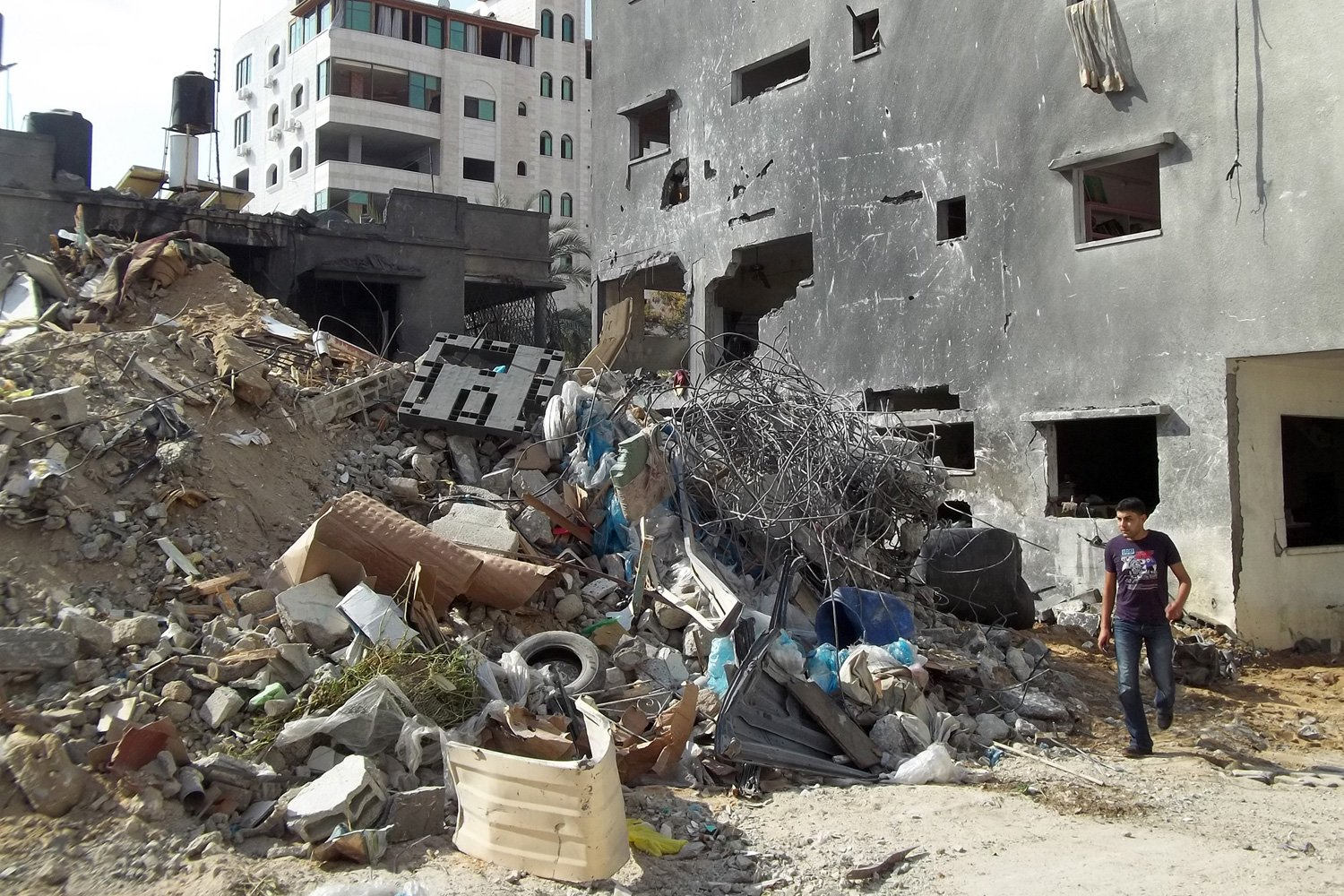 Ruins of Al Dalou family house, where at least 10 people were killed in an Israeli airstrike on Sunday evening