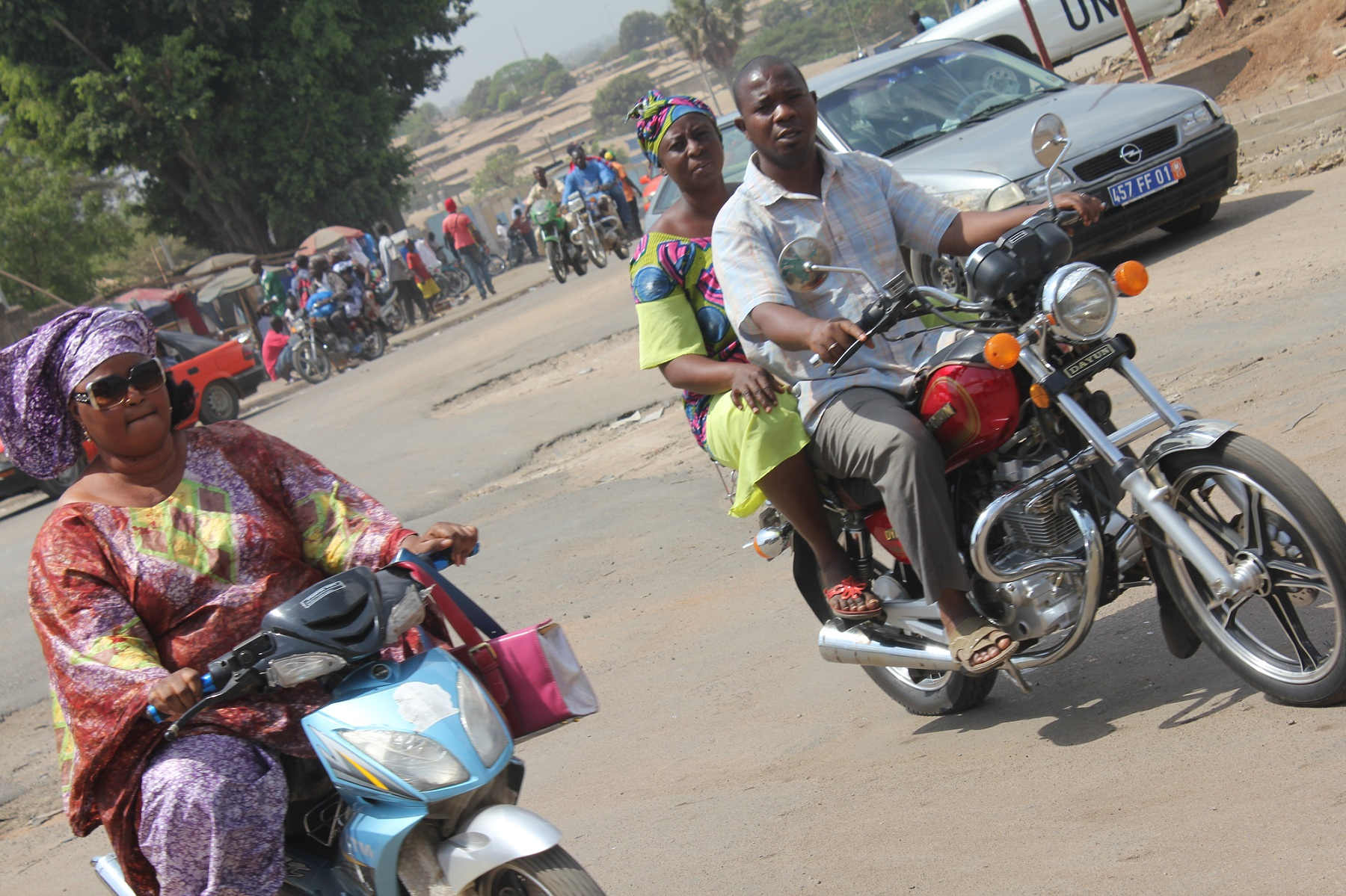 Riders on the streets of Côte d'Ivoire's central city of Bouaké. Government is making a come-back in the northern region