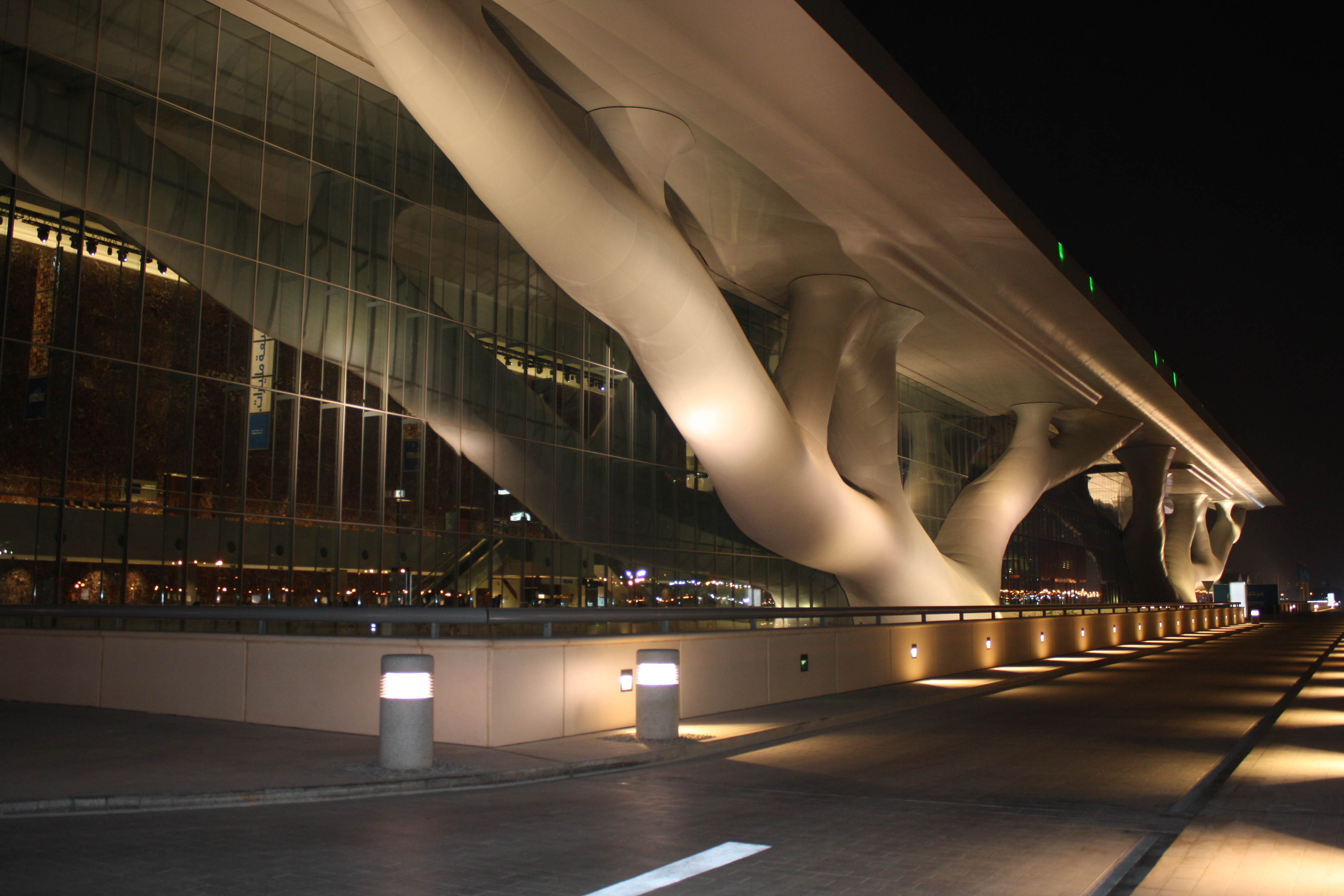 The Qatar National Convention Centre in Doha shrouded in silence as climate change negotiators talk through the night