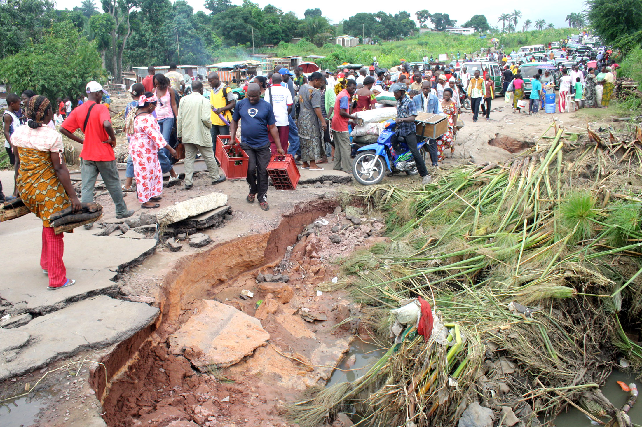 Floods caused extensive damage to homes and infrastructure, such as this road in the south of Brazzaville