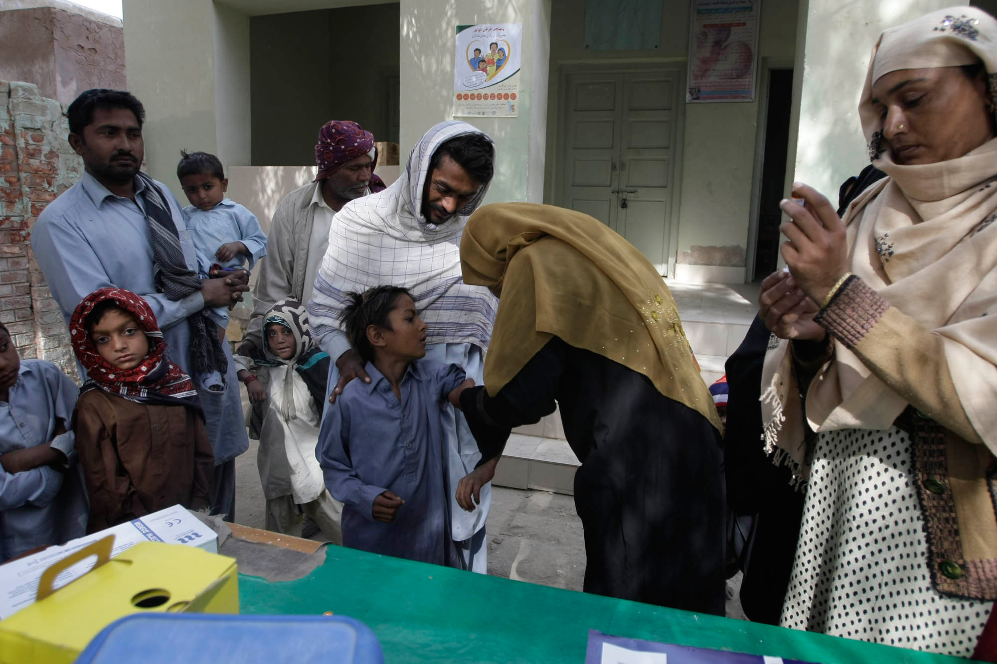 A measles vaccination programme at a small government hospital in Sukkur, Sindh province in Pakistan.