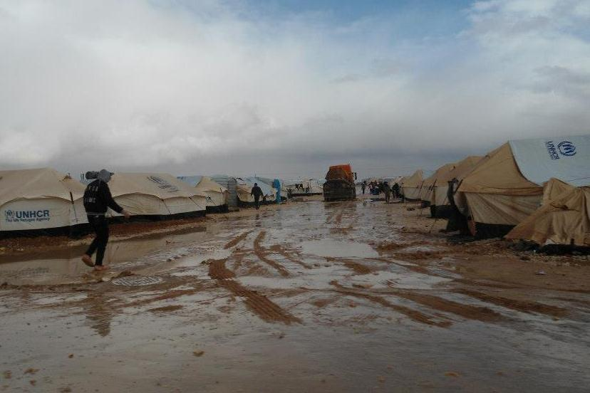 Some 300 Syrian refugees had to leave their tents after heavyfall in northern Jordan's Za'atari camp