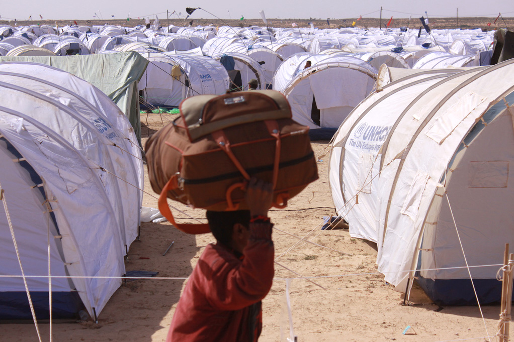 New arrivals in Choucha transit camp, set up to accommodate people fleeing the violence and civil unrest in Libya (file photo)