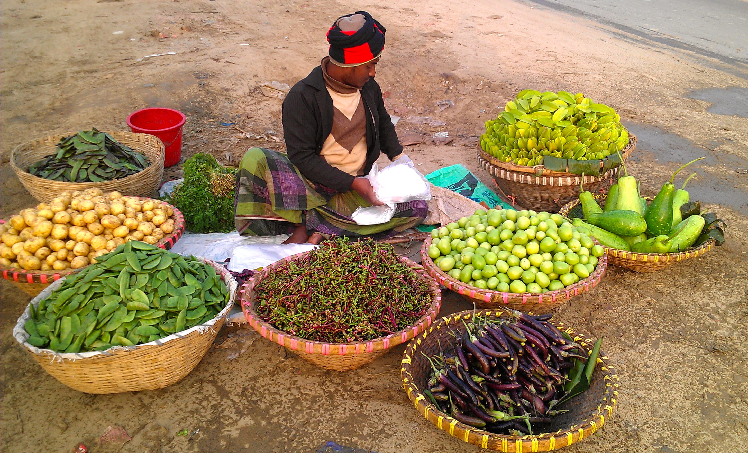 Vendor in Bangladesh capital, Dhaka. Photo taken January 2013