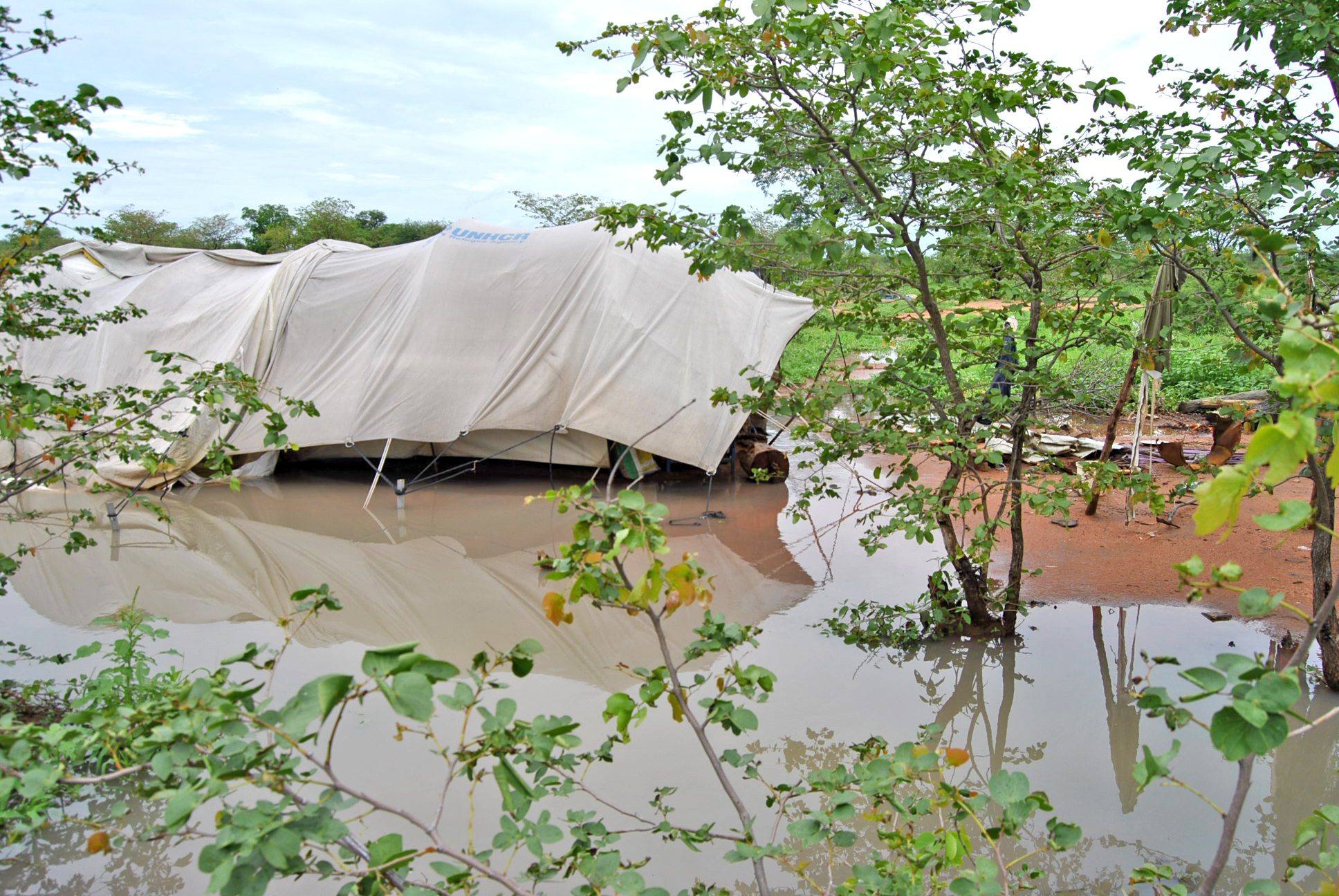 Refugee shelters inundated with flood waters at Dukwi Refugee Camp in Botswana