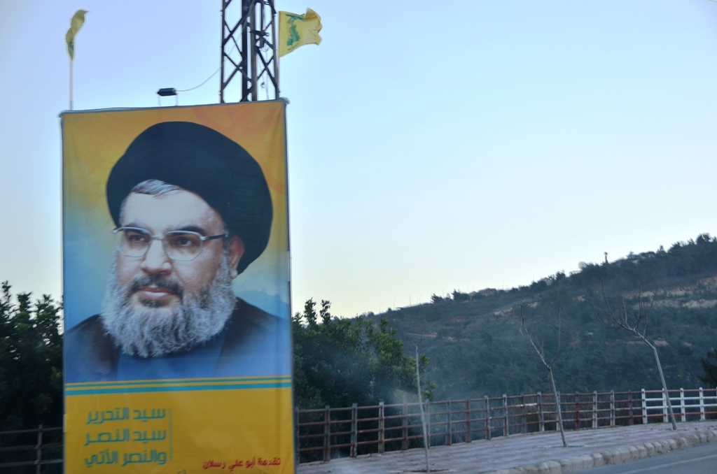 A larger-than-life poster of Hezbollah leader Hassan Nasrallah in southern Lebanon. Most of the south's residents are Shia and strongly support Hezbollah