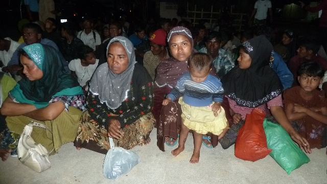 A group of Rohingya women and children at Khao Lak shelter in southern Thailand