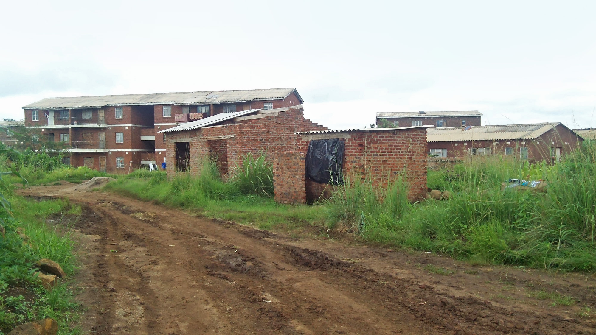 A derelict and unfinished government housing project in Dzivarasekwa Extension, a low-income suburb west of Zimbabwe's capital, Harare
