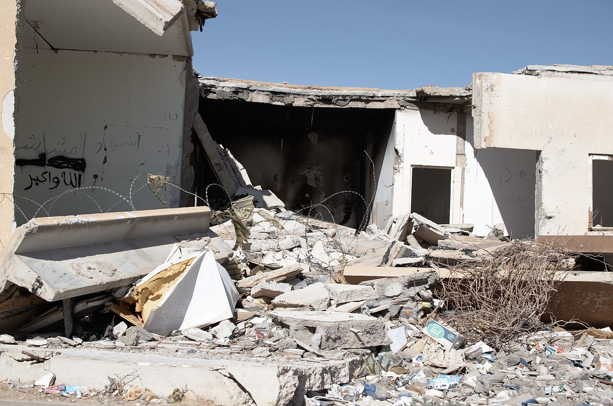A destroyed house in Ahy Badr in a Meshashya area in the town of Mizdah in the Nafusa mountains in Libya after tribal conflict in March 2013