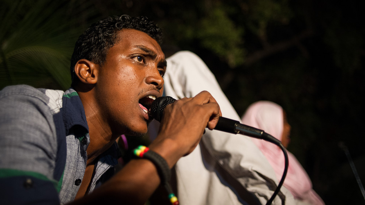 Somali hip-hop collective, Waayaha Cusub, perform their headline act at the opening night of the Mogadishu Music Festival in the Somali capital on March 27, 2013
