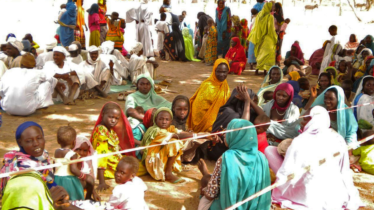 A group refugees at Tissi, Southeast Chad, who have fled recent fighting in Darfur