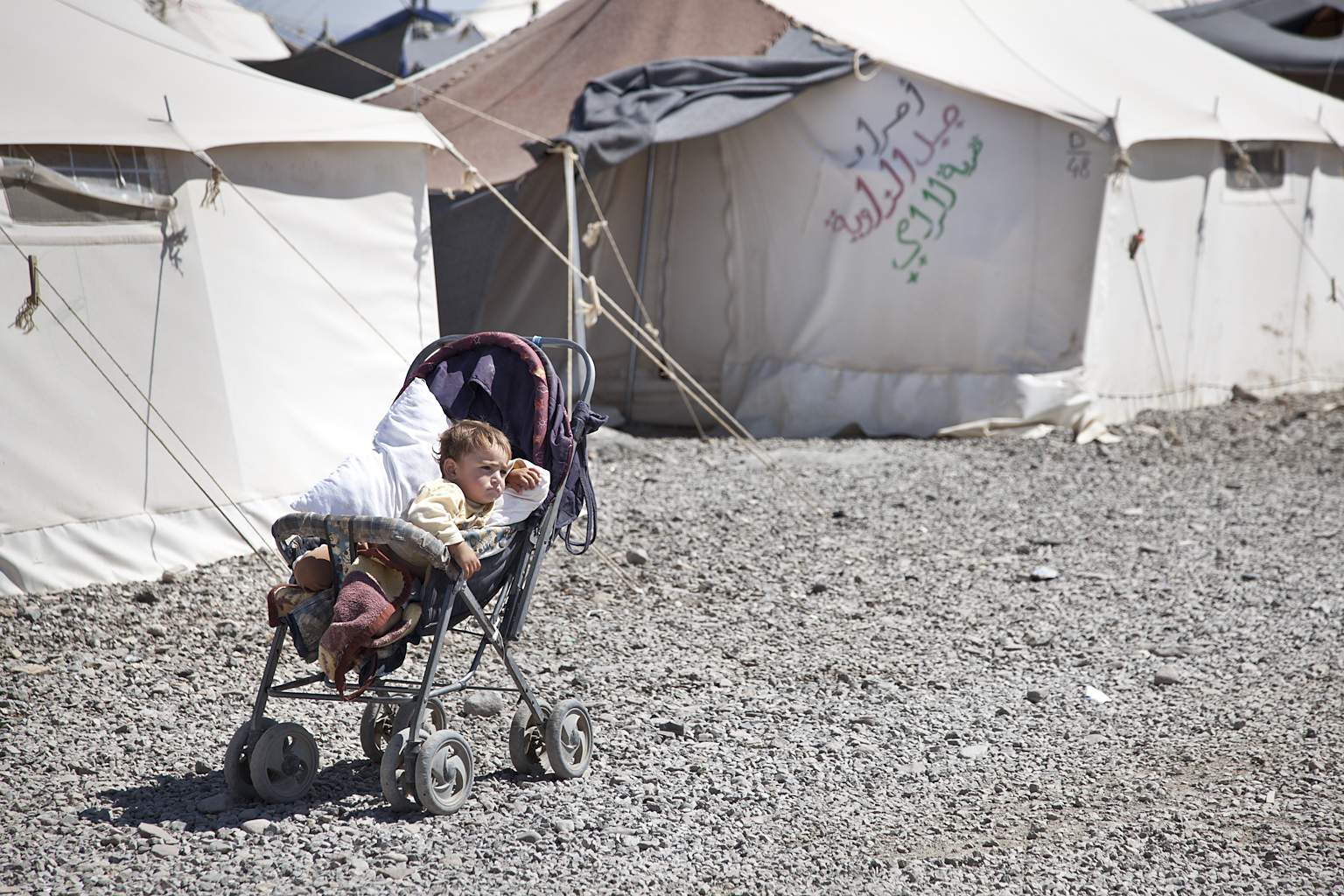 A baby in Turkey's Islahiye camp for Syrian refugees