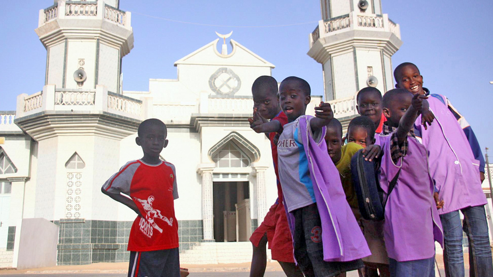 Children outside Mouride mosque, Yoff neighborhood, Dakar