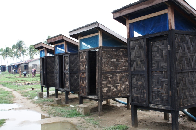 A set of recently constructed latrines at an IDP camp outside Sittwe in Myanmar's western Rakhine State. With the onset of monsoon rains, water and sanitation issues of risen in importance