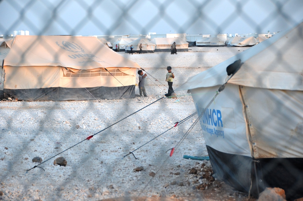 Za'atari Camp for Syrian refugees in northern Jordan. The camp is now home to 120,000 people who live in harsh, though improving, desert conditions