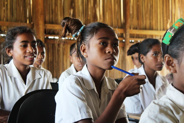 Natersia da Silva, 14, learns how disasters affect her school, Mau Chica, Manufahi District