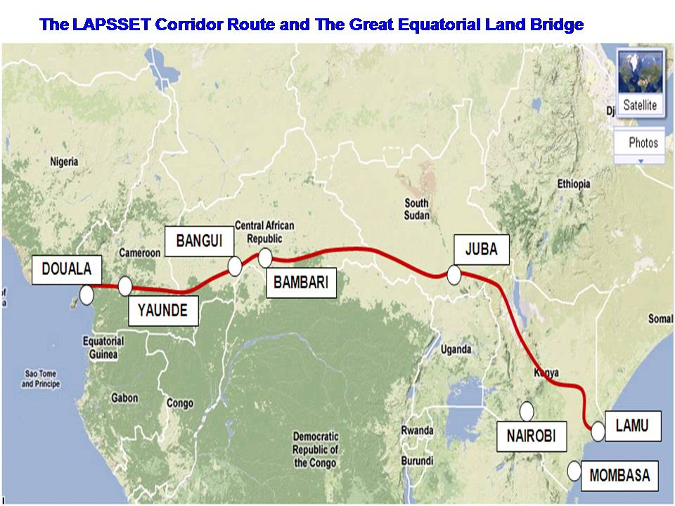 The LAPSSET corridor route and the Great Equatorial land bridge
