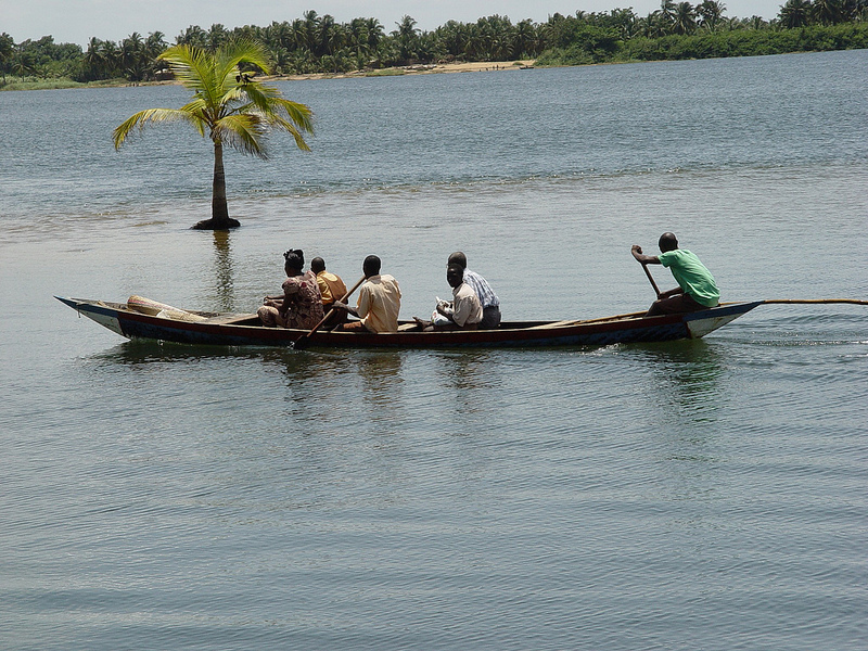 A boat ride on Volta River. Researchers predict a drastic water loss by 2100 due climate change