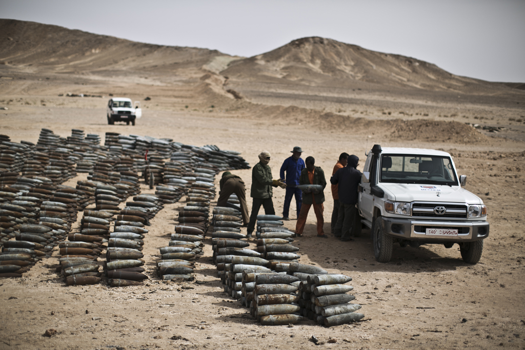 De-mining operations in Libya after the 2011 uprising that toppled long-time leader Muammar Gaddafi