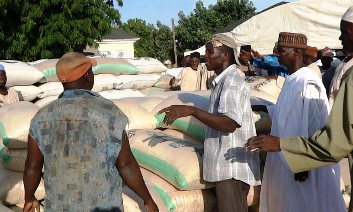 Distribution of federal emergency grain stocks in Maiduguri, Borno State, northeastern Nigeria
