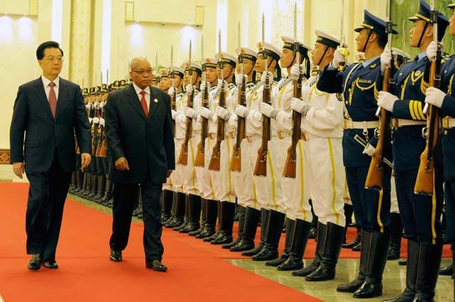 President Zuma with President Jiantao observe the Chinese Presidential guard during the welcome ceremony. President Jacob Zuma was officially welcomed to China by President Hu Jiantao. President Zuma is attending the 5th Forum on China - Africa Cooperatio