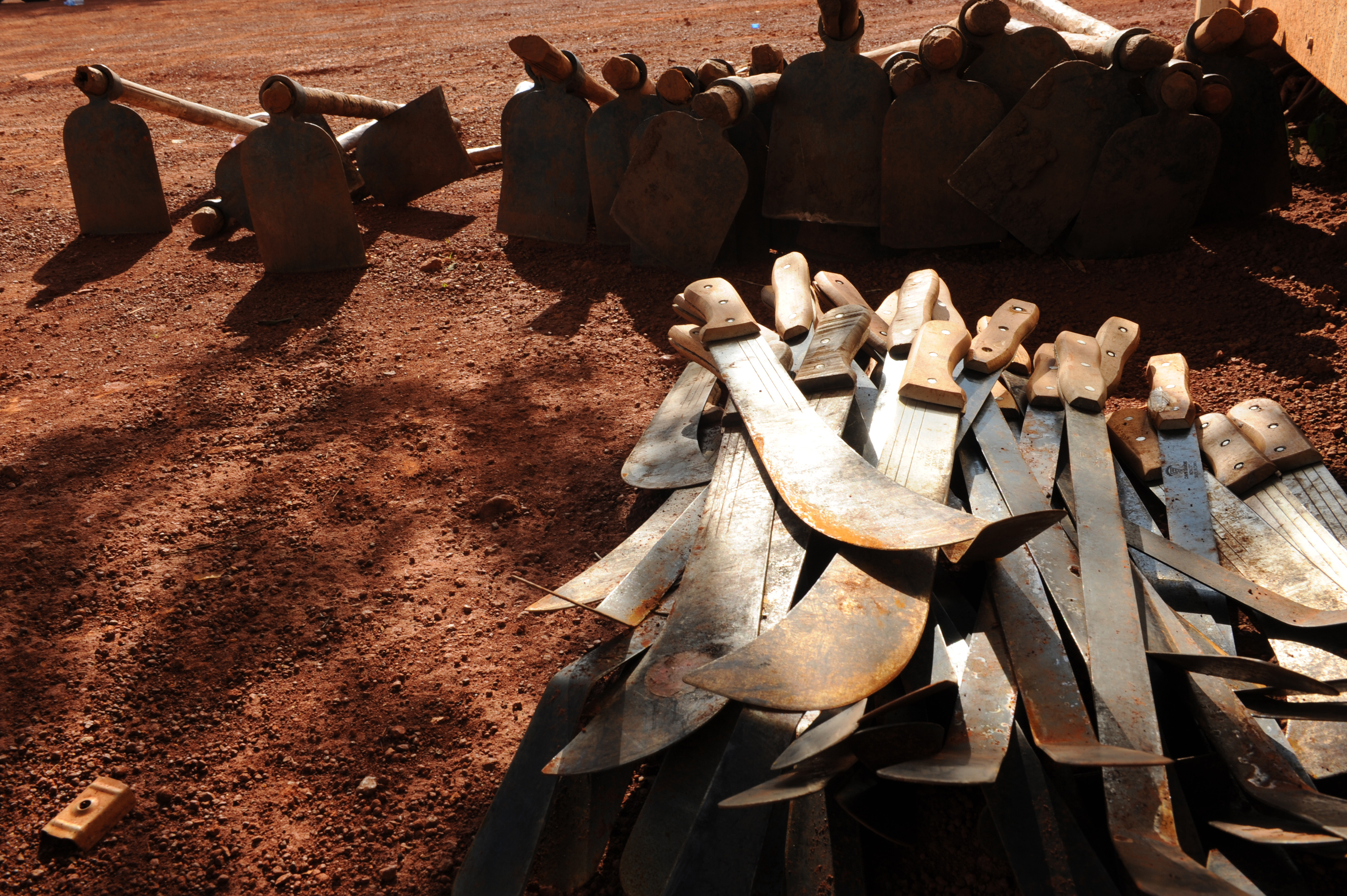Agricultural tools used at the Mapel training facility for former combatants in South Sudan's Western Bahr El-Ghazal State