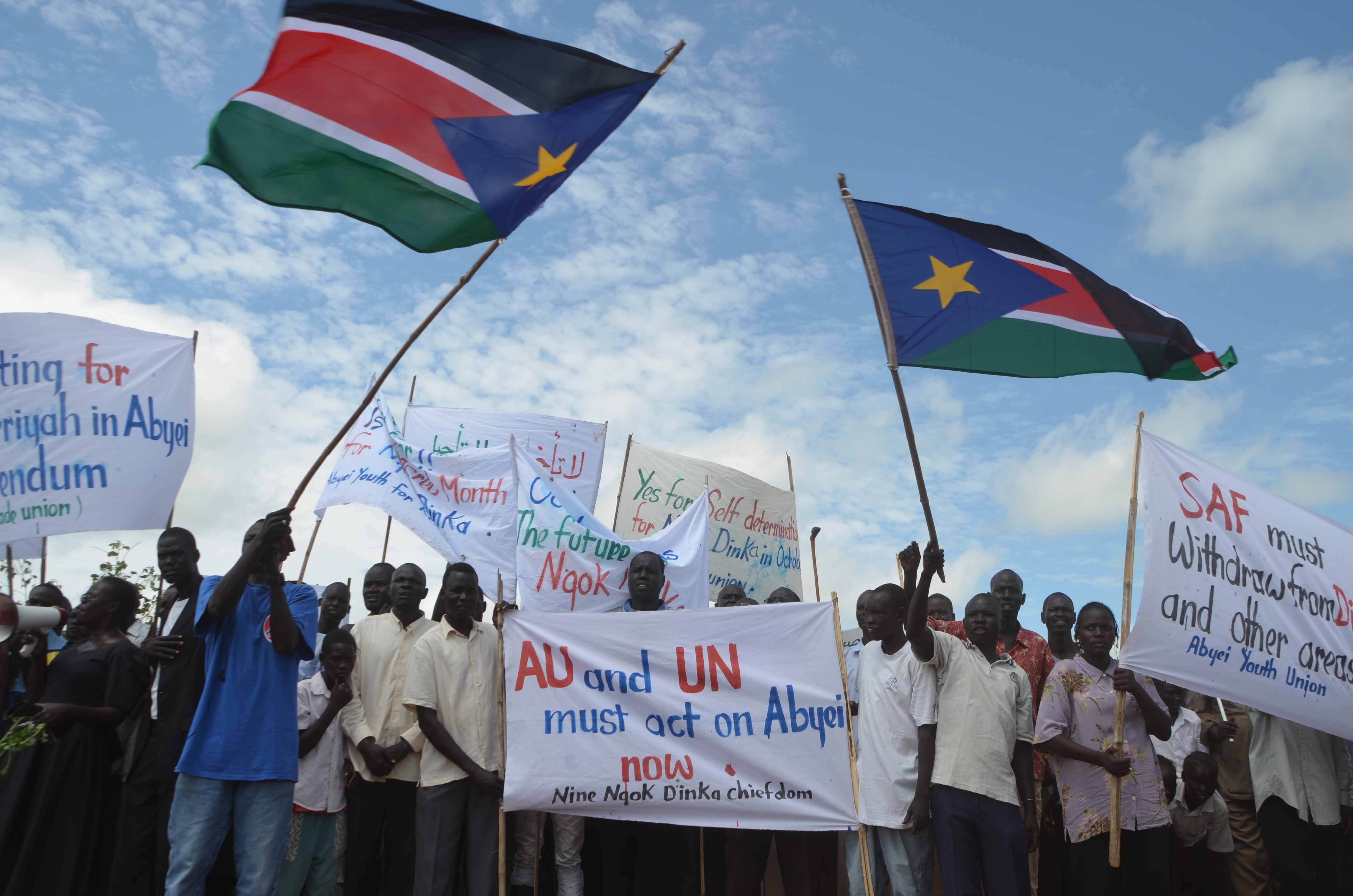 Resident of Abyei, a disputed region on the border between Sudan and South Sudan, demonstrate to demand a long-awaited self-determination referendum