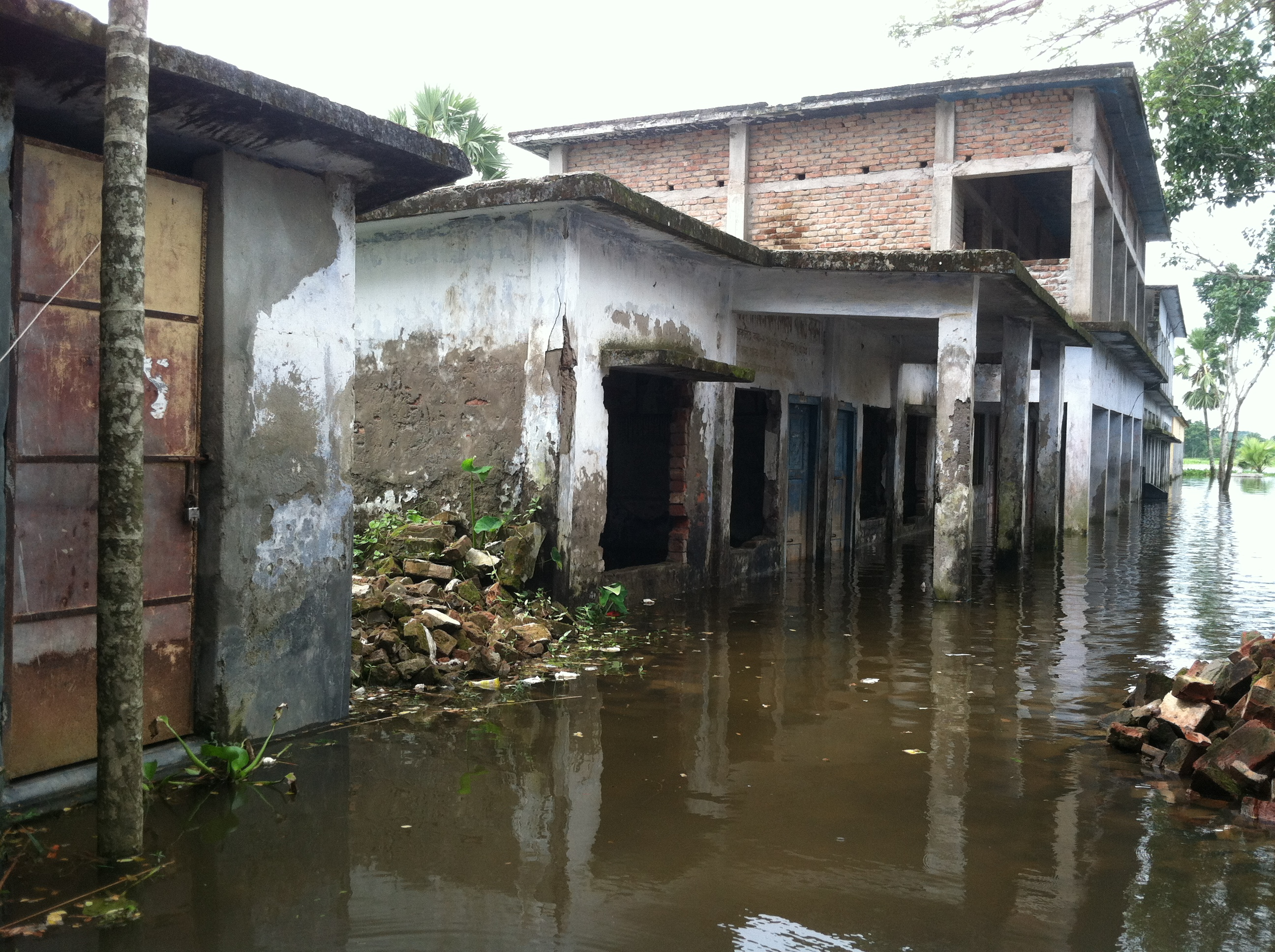 Water-logged school in Bangladesh's southwestern Satkhira District