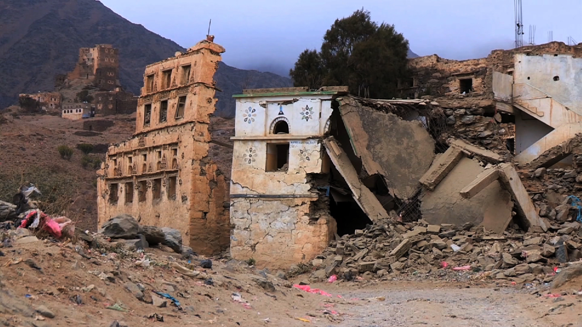Destruction in northern Yemen caused by the civil wars with the Houthis, 2004-10