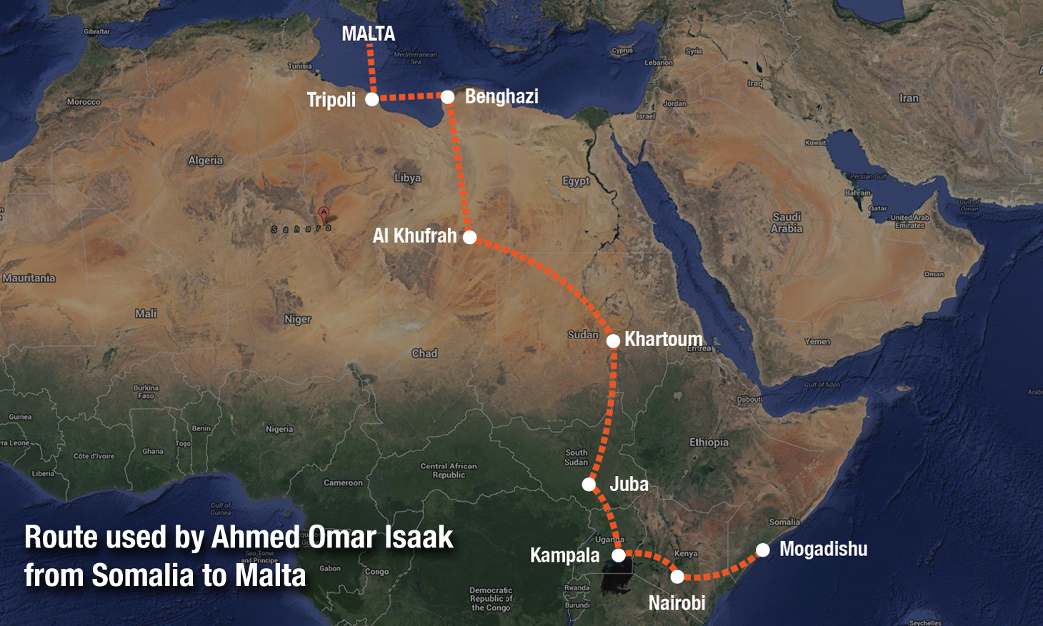 Route used by Ahmed Omar Isaak from Somalia to Malta