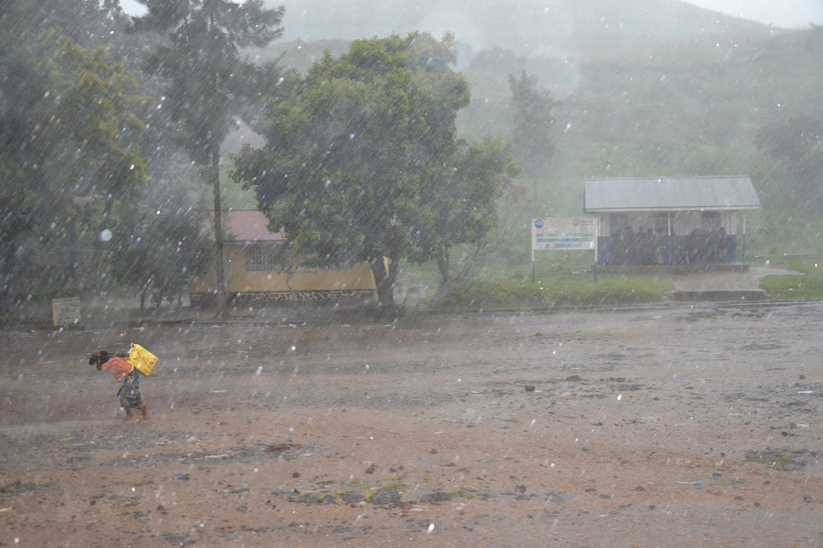 Heavy rain pours in Bunagana, a town East of DRC that was the former political stronghold of the M23 rebellion before the Congolese army took the town. (November 2013)