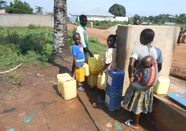 Children looking for water at a public fountain at Gisandema, in Gihosha commune, Bujumbura