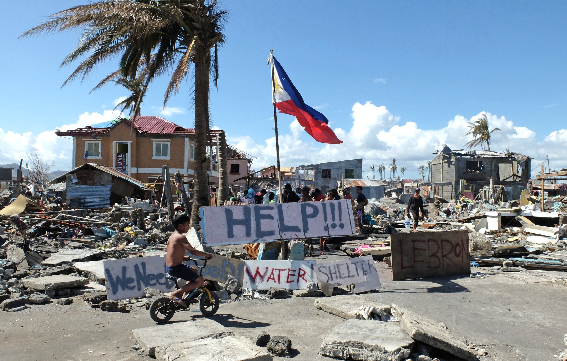 Devastation in the city of Tacloban after typhoon Haiyan