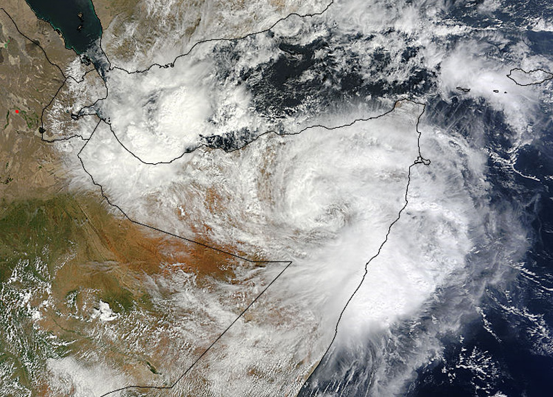 Tropical Cyclone 03A over Somalia on November 11 at 07:35 UTC/2:35 a.m. EDT