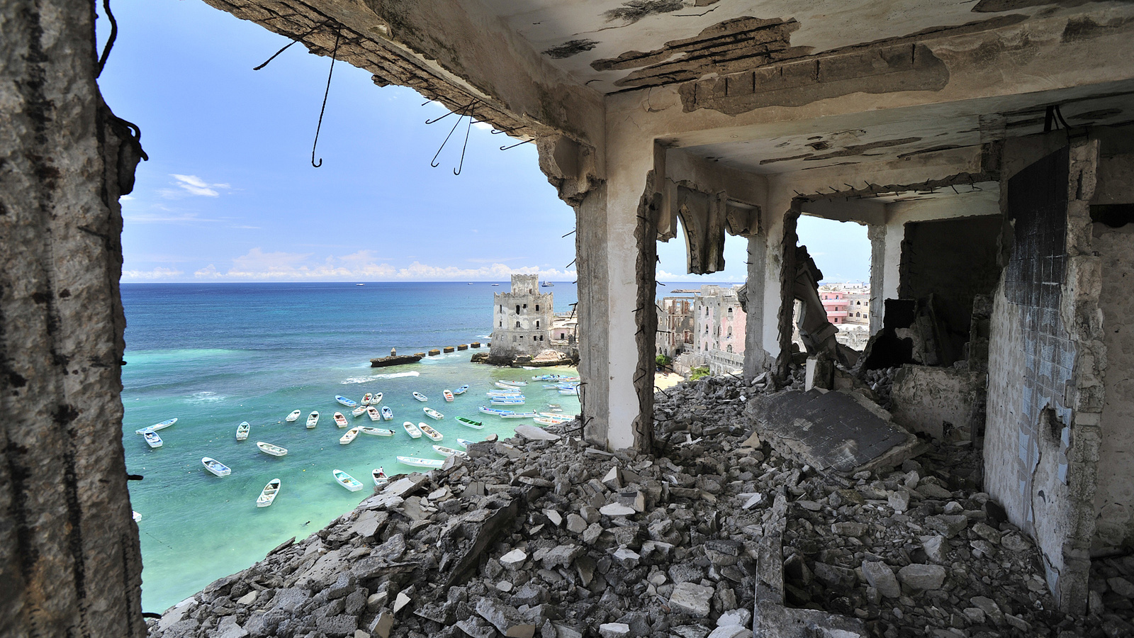 Once one of Mogadishu's most luxurious hotels, the Al-Uruba lays in ruins after two decades of civil war. Though building work in Mogadishu is on the rise, it may still be several years before many of the city's buildings will be restored.