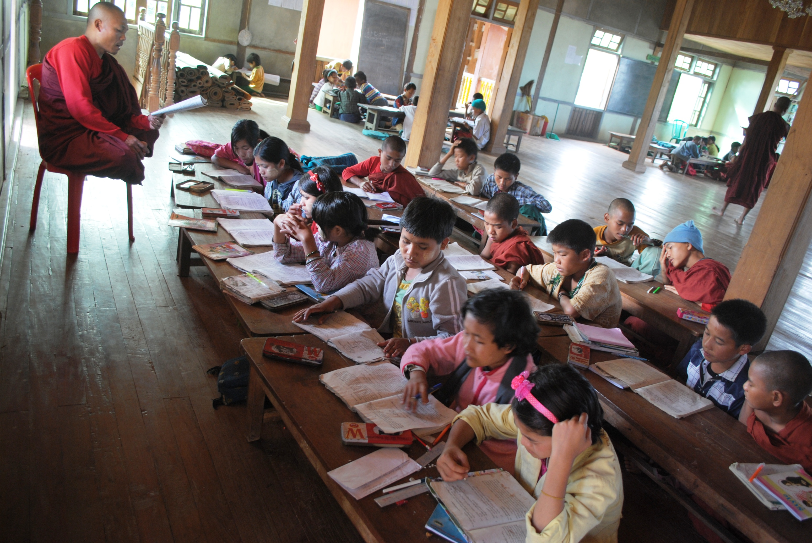 A monastic school of 120 students in Kanpetlet township in Chin State