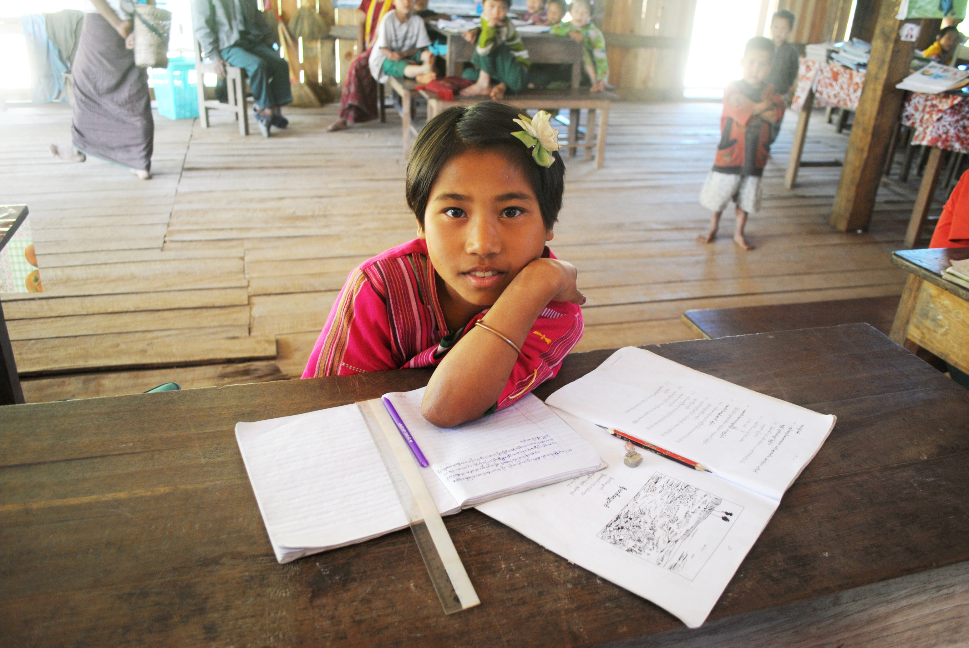 Schoolgirl Pan Kwee, 10, in Chin State's Laung Pan primary school, who said she wants to be a scientist