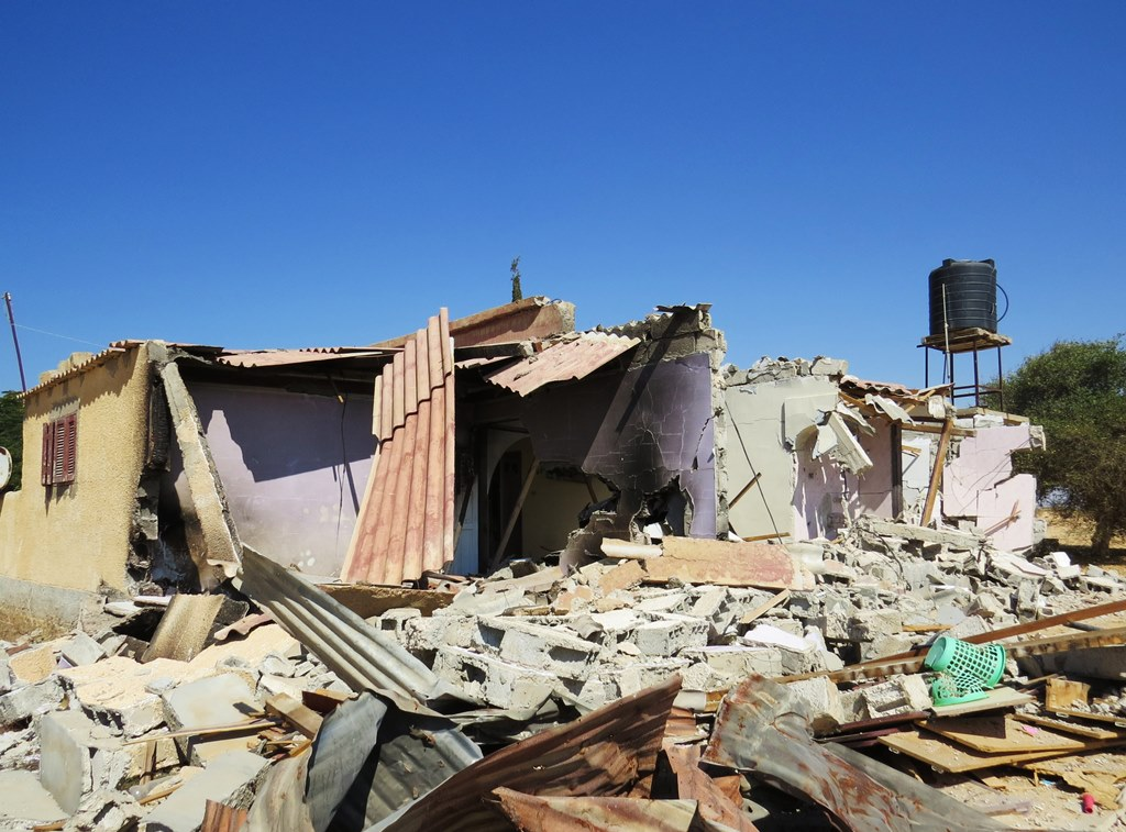 A home in al-Mehdiya village in Egypt's North Sinai governorate, destroyed by the army during counter-terrorism operations in the fall of 2013. The residents of this home - a woman and her nine-year-old daughter - barely had time to flee. They lived 100m