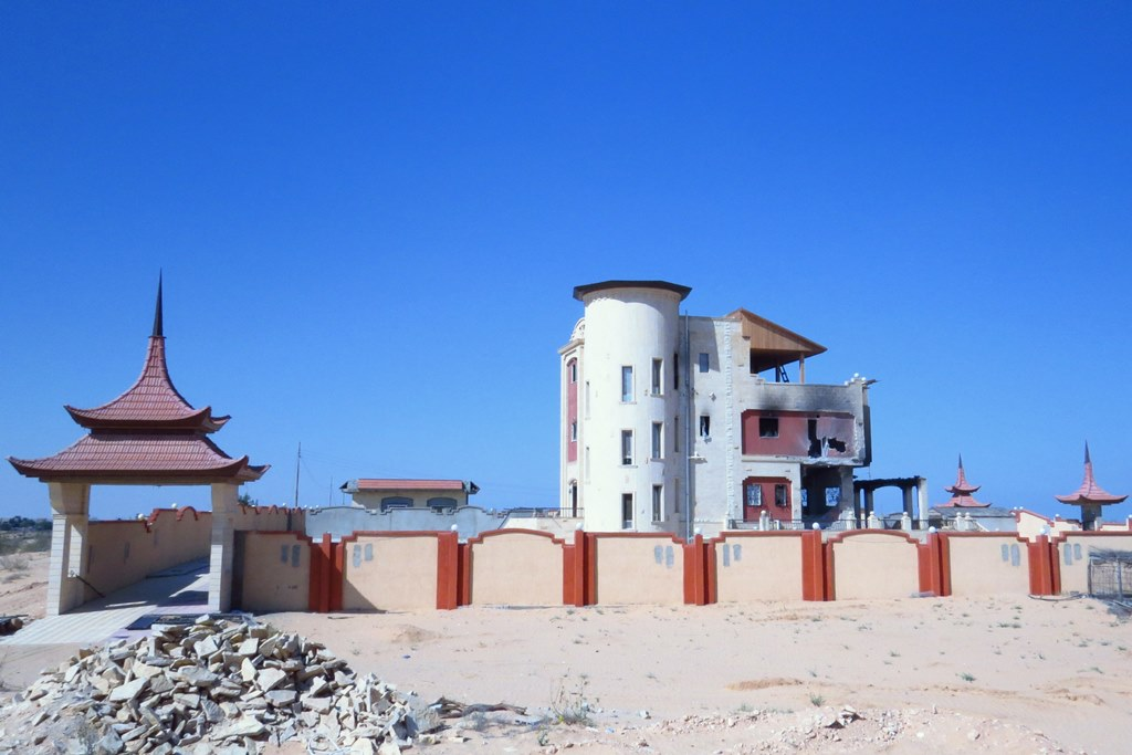 An opulent-looking house in al-Mehdiya village, in North Sinai, less than five kilometers from the border with Gaza. It belongs to Youssef Eid El Menai, said to be a human trafficker, who local residents say has fled the area. The Egyptian army first set