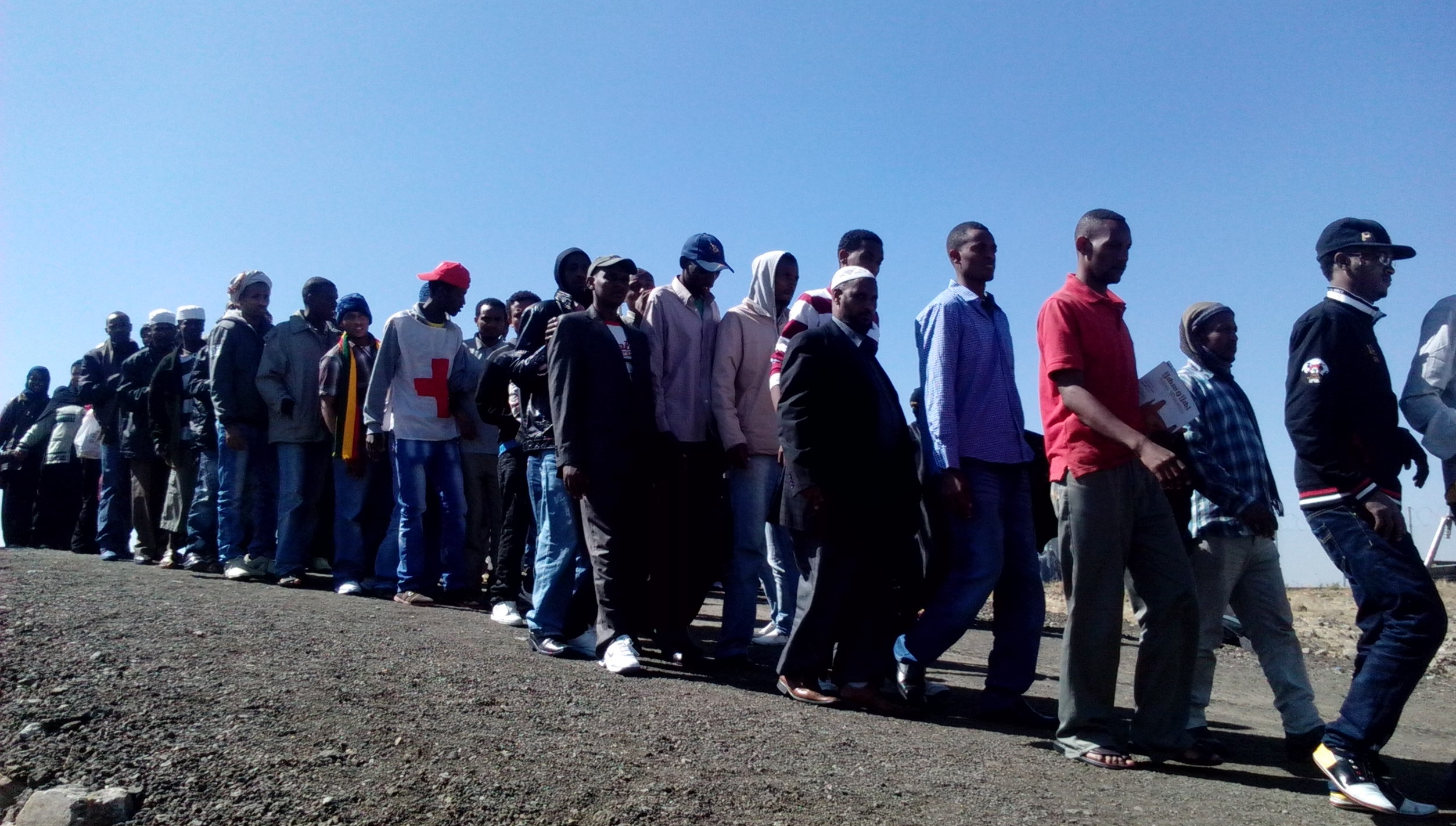 Ethiopian migrants from Saudi Arabia wait for registration at the Bole International Airport in Addis Ababa.